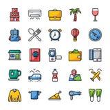 Le voyage et les icônes plates d'hôtel emballent illustration libre de droits