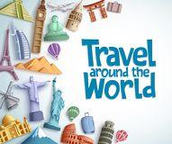 Le voyage et le tourisme dirigent le calibre de fond avec le voyage autour du texte du monde à l'arrière-plan blanc vide illustration de vecteur