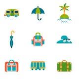 Le voyage a isolé les icônes plates réglées Illustration Libre de Droits