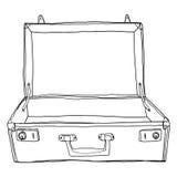 Le voyage Open de valises de bagage de vintage est le lineart mignon vide i Photographie stock