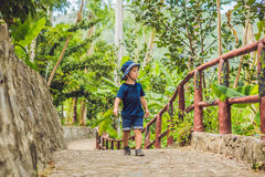 Le voyageur de garçon marche en parc en Asie Photo stock