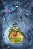Le voyageur s'assied par le feu sur une petite planète dans l'espace illustration stock