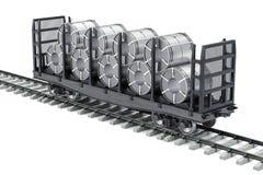 Le wagon de chemin de fer avec l'acier inoxydable love, le rendu 3D illustration libre de droits