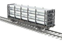 Le wagon de chemin de fer avec le métal siffle, le rendu 3D illustration libre de droits