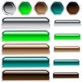 Le Web boutonne des couleurs et des formes assorties lustrées Photos libres de droits