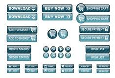 Le Web d'achats boutonne le bleu Images stock