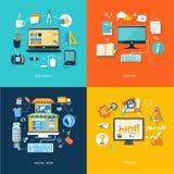 Le web design d'achats d'Internet favorisent le contenu Illustration Stock