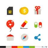 Le Web et l'application plats différents de conception connectent des icônes Image libre de droits