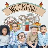 Le week-end ont plaisir à saluer dimanche samedi détendent le concept Photo stock