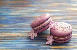 Le whith français de buiscits de macarons de myrtille fleurit sur le fond en bois Image libre de droits