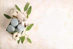 Le whith français de buiscits de macarons de myrtille fleurit sur le fond en bois Photos libres de droits