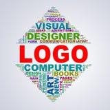 Le wordcloud de conception de triangle de miroir étiquette le logo Photo stock