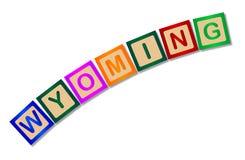 Le Wyoming sur les caractères gras en bois d'isolement Image libre de droits