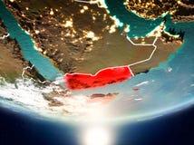 Le Yémen avec le soleil sur terre de planète Images libres de droits