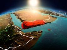 Le Yémen dans le lever de soleil de l'orbite Photographie stock libre de droits