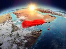 Le Yémen de l'espace dans le lever de soleil Photographie stock libre de droits