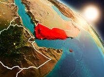 Le Yémen de l'espace pendant le lever de soleil illustration de vecteur