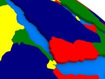 Le Yémen, l'Érythrée et le Djibouti sur le globe 3D coloré Photos libres de droits