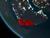 Le Yémen la nuit d'orbite Photographie stock