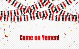 Le Yémen marque la guirlande sur le fond transparent avec des confettis Accrochez l'étamine pour la bannière de calibre de célébr illustration stock