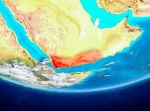 Le Yémen sur le globe de l'espace Image stock