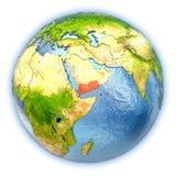 Le Yémen sur le globe d'isolement illustration de vecteur