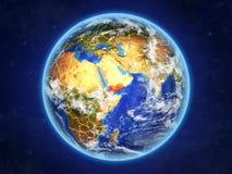 Le Yémen sur terre de l'espace illustration de vecteur