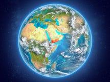 Le Yémen sur terre de planète dans l'espace Photo stock