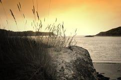Le Yaudet, Brittany, Frankrike på solnedgången arkivbild