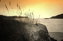 Le Yaudet, la Bretagne, France au coucher du soleil photographie stock