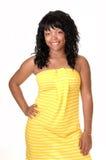 le yellow för klänningflicka Fotografering för Bildbyråer