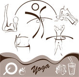 Le yoga, a placé le graphisme, vecteur de logos Photo stock