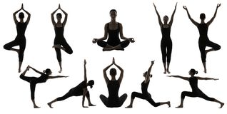 Le yoga pose des silhouettes, position d'Asana d'équilibre de corps de femme photo stock