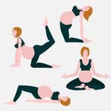 Le yoga pose pour les femmes enceintes, la future mère, l'ensemble d'exercices sain de mode de vie, le soin de bébé, la maternité illustration stock