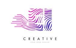 Le zèbre d'E-I E-I raye la lettre Logo Design avec des couleurs magenta Image stock