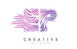 Le zèbre de PE E P raye la lettre Logo Design avec des couleurs magenta Images libres de droits
