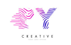 Le zèbre du PY P Y raye la lettre Logo Design avec des couleurs magenta Photo stock