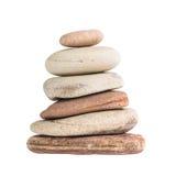 Le zen lapide l'équilibre d'isolement au-dessus du blanc Image stock