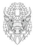Le zentangle américain de tête de buffle a stylisé, dirige, illustration, illustration libre de droits