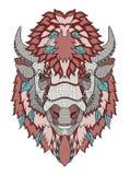 Le zentangle américain de tête de buffle a stylisé, dirige, illustration, illustration stock