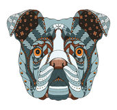 Le zentangle anglais de tête de bouledogue a stylisé, dirige, illustration Photographie stock libre de droits