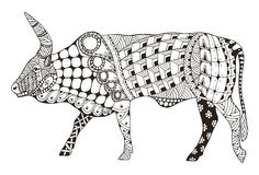 Le zentangle chinois de signe de zodiaque de boeuf a stylisé, illustration de vecteur, illustration de vecteur
