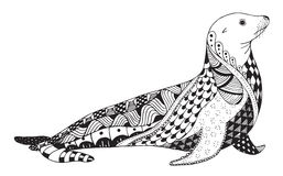 Le zentangle d'otarie a stylisé, scelle, dirige, illustration, freehan Images stock