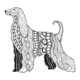 Le zentangle de chien de lévrier afghan a stylisé, dirige, illustration, freeh Image libre de droits