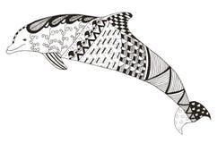 Le zentangle de dauphin a stylisé, dirige, illustration, modèle, freeh Photographie stock