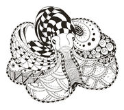 Le zentangle de poulpe a stylisé, dirige, illustration, penci à main levée Photos stock
