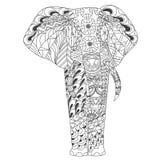Le zentangle modelé d'éléphant a inspiré le style Photographie stock libre de droits