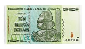 Le Zimbabwe dix dollars de trillon Photographie stock libre de droits