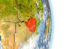 Le Zimbabwe en rouge sur terre illustration de vecteur