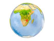 Le Zimbabwe sur le globe d'isolement Images stock